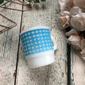 Vtg Fire king Milk Glass Coffee Mug Blue Plaid Cup